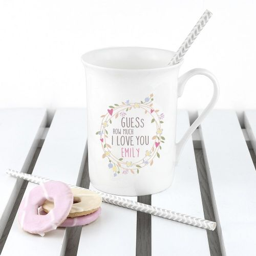 Personalised Guess How Much I Love You Round Wreath Bone China Mug